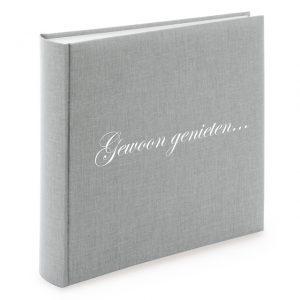 Gepersonaliseerd Linnen fotoalbum groot grijs 31606_D